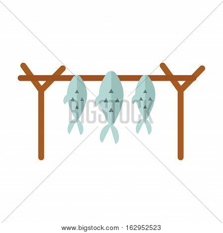 Dried fish fillets skewers on white background. Vector salted snack. Seafood prepared delicious and small healthy cuisine. Gourmet raw traditional food.