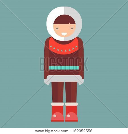 Cartoon eskimo illustration. Cute vector happy girl. Clothes human alaska native northern people. Funny nationality traditional chukchi character.