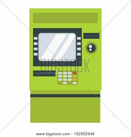 ATM cash dispenser vector illustration isolated on white background. Wealth keypad money debt buy monitor. Business technology with display bank security.
