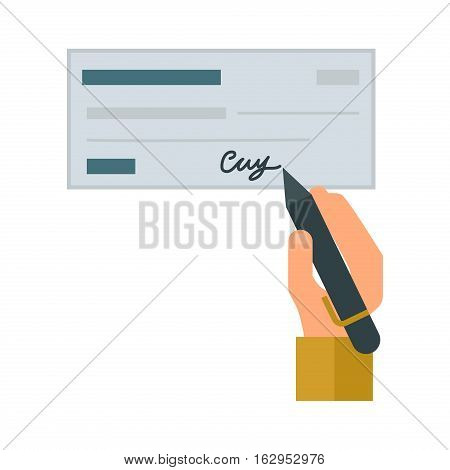 Retro check gift certificate white background. Good money design accounting debt. Customizable people hand with pen. Financial paper payment vector blank.