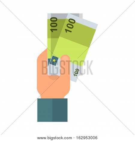Human hand with money business currency finance investment vector icon. Payment bill concept rich give commerce salary savings. Economy earnings banknote.