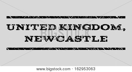 United Kingdom, Newcastle watermark stamp. Text caption between horizontal parallel lines with grunge design style. Rubber seal stamp with dirty texture.