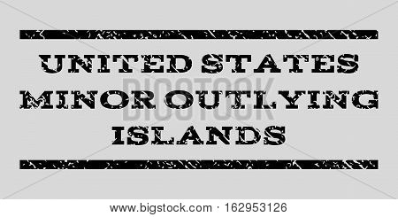 United States Minor Outlying Islands watermark stamp. Text caption between horizontal parallel lines with grunge design style. Rubber seal stamp with dirty texture.