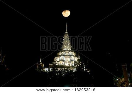PHETCHABUN ,THAILAND-DECEMBER 18 ,2016 :The large Pagoda in night as background in Wat Pha Sorn Kaew,it is certainly one of the most beautiful temples in Thailand on Khao Khaw , Phetchabun ,Thailand.