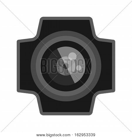 Camera photo optic lens reflection movie instrument on white background. Type objective equipment, professional look. Digital technology electronic aperture device.