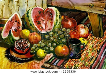Fruit still-life with a water-melon and a pomegranate