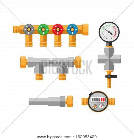 Details pipes different types collection. Vector set of water tube industry, gas valve construction. Oil industrial pressure technology plumbing. Steel factory engineering.