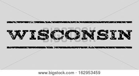 Wisconsin watermark stamp. Text caption between horizontal parallel lines with grunge design style. Rubber seal stamp with dust texture. Vector black color ink imprint on a light gray background.