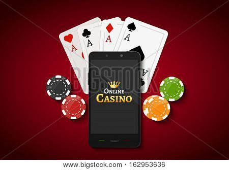 Online mobile casino background. Poker app online concept. Smart phone with chips, cards.
