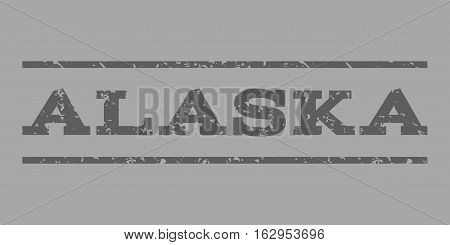 Alaska watermark stamp. Text tag between horizontal parallel lines with grunge design style. Rubber seal stamp with dirty texture. Vector dark gray color ink imprint on a silver background.