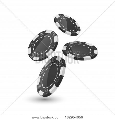 Poker chips design template. Chips falling dawn. Poker gambler design concept.