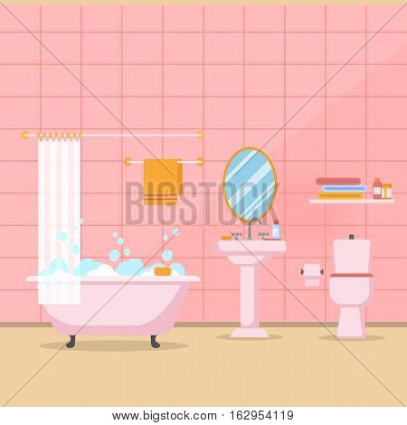 Pink Modern bathroom interior with furniture in flat style. Design modern bathroom Vector illustration