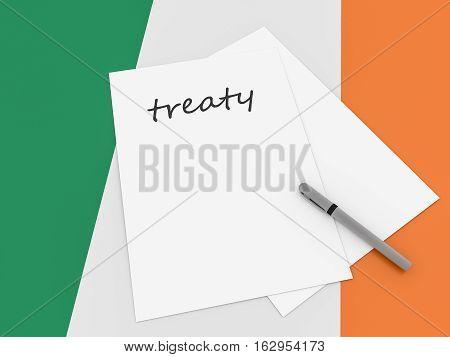 Irish Politics: Treaty Note On Ireland Flag 3d illustration