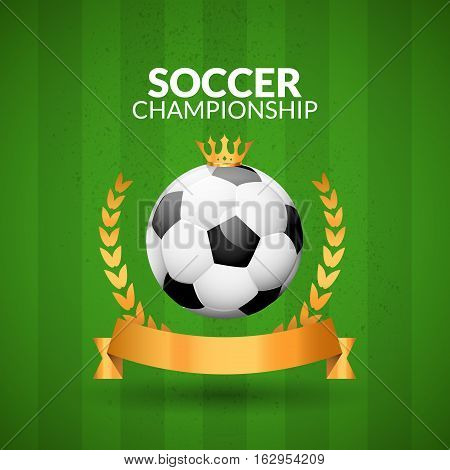 Soccer championship emblem design template. Golden football badge or logo sigh with ribbon crown and wreath.