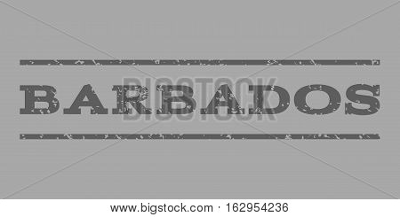 Barbados watermark stamp. Text caption between horizontal parallel lines with grunge design style. Rubber seal stamp with scratched texture. Vector dark gray color ink imprint on a silver background.