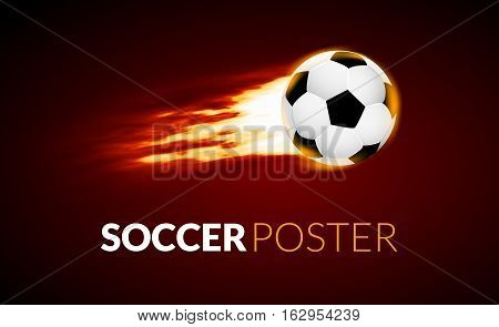 Soccer ball banner with fire ball in motion. Soccer creative banner football background.