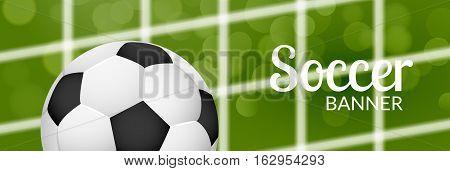 Football soccer banner design template with ball net. Blurred grass. Football or soccer sport poster.