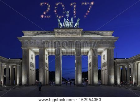 2017 Berlin Firework New Year Concept