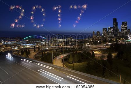 2017 Seattle Firework New Year Concept