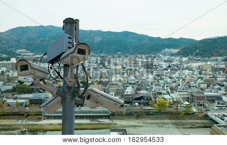 CCTV cameras installed in the city Japan