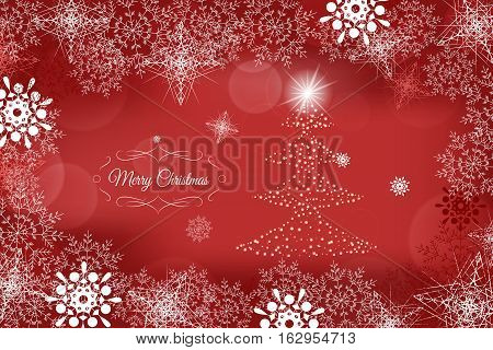 Vector Merry Christmas and Happy New Year abstract red background with christmas tree in the center and snowflakes.