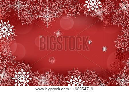 Vector winter abstract red background with radiance and snowflakes.