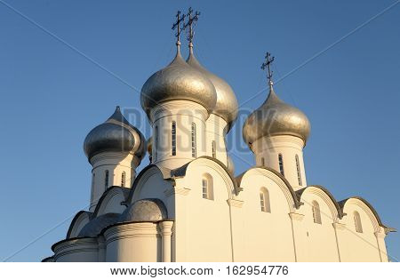 Sophia Cathedral - Orthodox church at ssunsset now a museum in Vologda Russia. Erected in 1568 - 1570 years on the orders of Ivan the Terrible