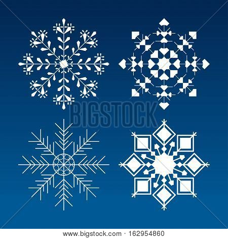 Set of white vector isolated snowflakes on the gradient blue background.