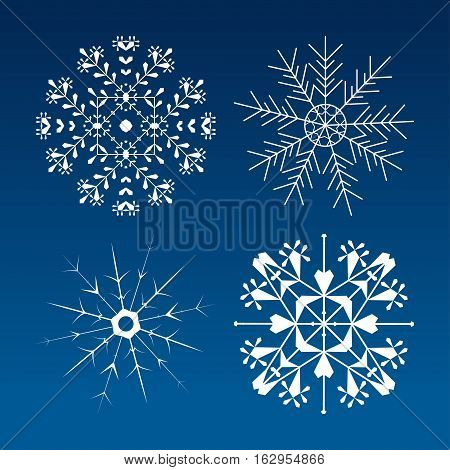 Set of white vector snowflakes on the gradient blue background.
