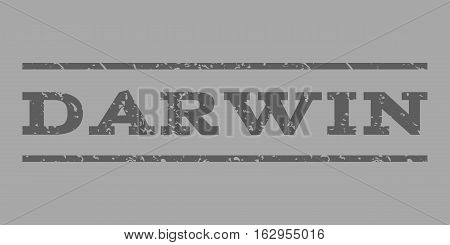 Darwin watermark stamp. Text caption between horizontal parallel lines with grunge design style. Rubber seal stamp with dirty texture. Vector dark gray color ink imprint on a silver background.