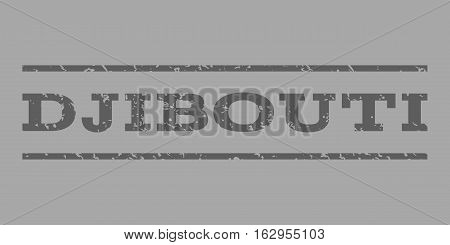 Djibouti watermark stamp. Text caption between horizontal parallel lines with grunge design style. Rubber seal stamp with dirty texture. Vector dark gray color ink imprint on a silver background.