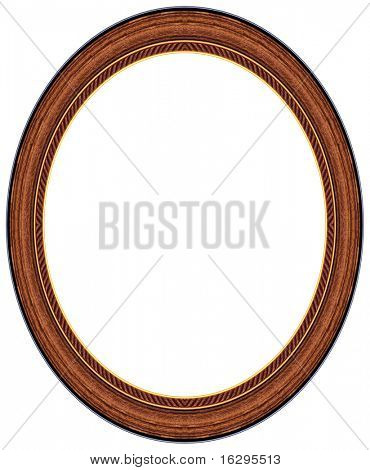 Oval wood picture frame with a decorative pattern
