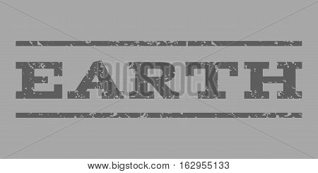 Earth watermark stamp. Text tag between horizontal parallel lines with grunge design style. Rubber seal stamp with dust texture. Vector dark gray color ink imprint on a silver background.