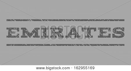Emirates watermark stamp. Text tag between horizontal parallel lines with grunge design style. Rubber seal stamp with dust texture. Vector dark gray color ink imprint on a silver background.