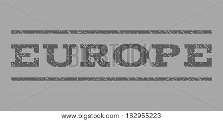 Europe watermark stamp. Text tag between horizontal parallel lines with grunge design style. Rubber seal stamp with dust texture. Vector dark gray color ink imprint on a silver background.