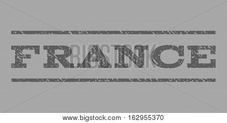 France watermark stamp. Text tag between horizontal parallel lines with grunge design style. Rubber seal stamp with scratched texture. Vector dark gray color ink imprint on a silver background.