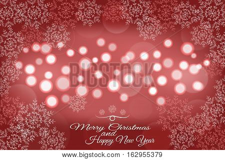 Vector Merry Christmas and Happy New Year abstract red background with lights in the center and snowflakes.