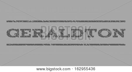 Geraldton watermark stamp. Text tag between horizontal parallel lines with grunge design style. Rubber seal stamp with dust texture. Vector dark gray color ink imprint on a silver background.