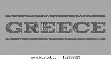 Greece watermark stamp. Text tag between horizontal parallel lines with grunge design style. Rubber seal stamp with dust texture. Vector dark gray color ink imprint on a silver background.