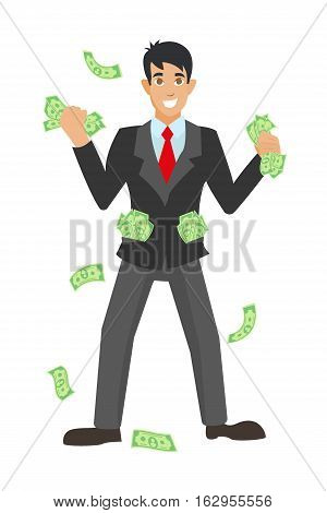 Happy super rich successful businessman raises his hands under money rain. businessman holds money in hands, received the coveted profits