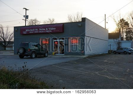 CADILLAC, MICHIGAN / UNITED STATES - NOVEMBER 27, 2016:  One may purchase or rent adult videos, and buy glass pipes and lingerie, at Mitchell Street News and Video.