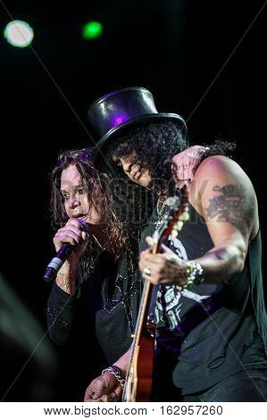 BELGRADE, SERBIA - JUNE 28TH: SLASH AND OZZY OSBOURNE PERFORMING ON BELGRADE CALLING FESTIVAL ON JUNE 28TH 2012, IN BELGRADE, SERBIA