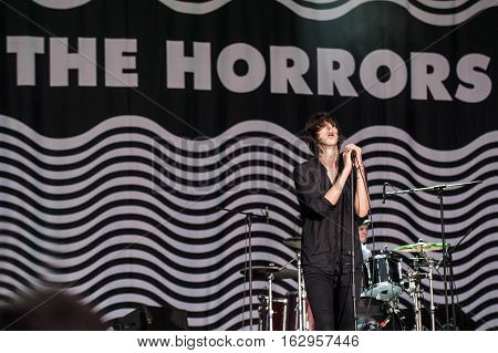 BELGRADE, SERBIA - JUNE 29TH: ENGLISH BAND THE HORRORS PERFORMING ON BELGRADE CALLING FESTIVAL ON JUNE 29TH 2012, IN BELGRADE, SERBIA