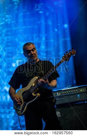 BELGRADE, SERBIA - JUNE 29TH: BASS PLAYER SCOTT FIRTH OF BRITISH BAND PUBLIC IMAGE LIMITED PERFORMING ON BELGRADE CALLING FESTIVAL ON JUNE 29TH 2012, IN BELGRADE, SERBIA