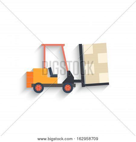 Flat Design forklift Isolated on white Background. Vector illustration