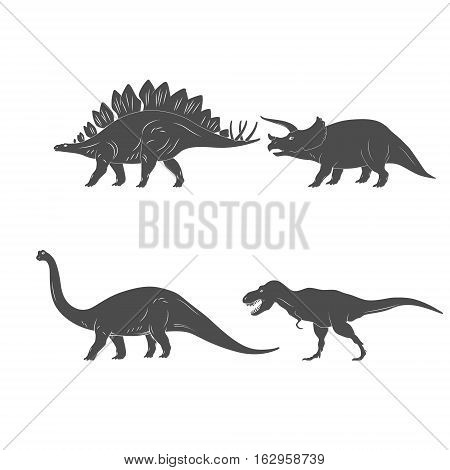Set of Dinosaurs Illustration isolated on white background. Vector illustration
