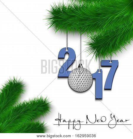 Golf Ball And 2017 On A Christmas Tree Branch