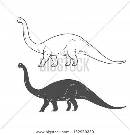 Dinosaurs illustrations on white background. Vector illustration