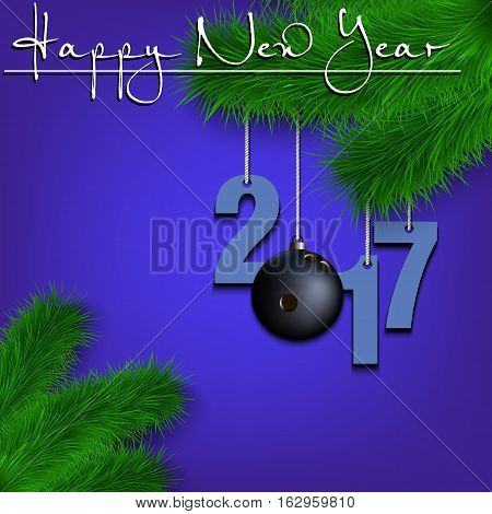 Bowling Ball And 2017 On A Christmas Tree Branch