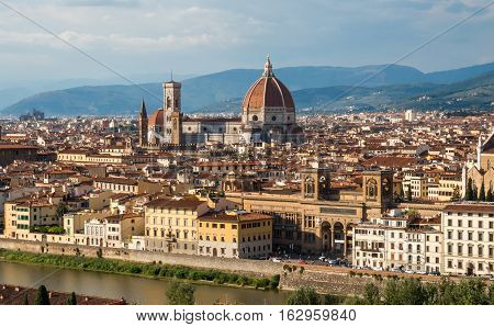 View of Duomo and Giotto's bell tower Santa croce from Piazzale Michelangelo.